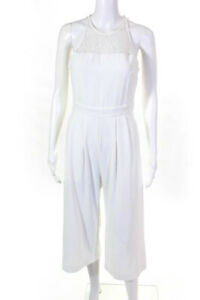 Parker Womens Lace Sleeveless Wide Leg Jumpsuit White Size Extra Small