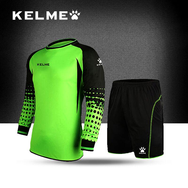 Kelme Soccer Goalkeeper Jersey Goalie GK Long Sleeve Shirt Shorts with Pad Adult