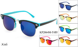 Kids-Half-Rimmed-Two-Toned-Frame-Color-Sunglasses-Flash-Mirror-Lens-Lead-Free-UV