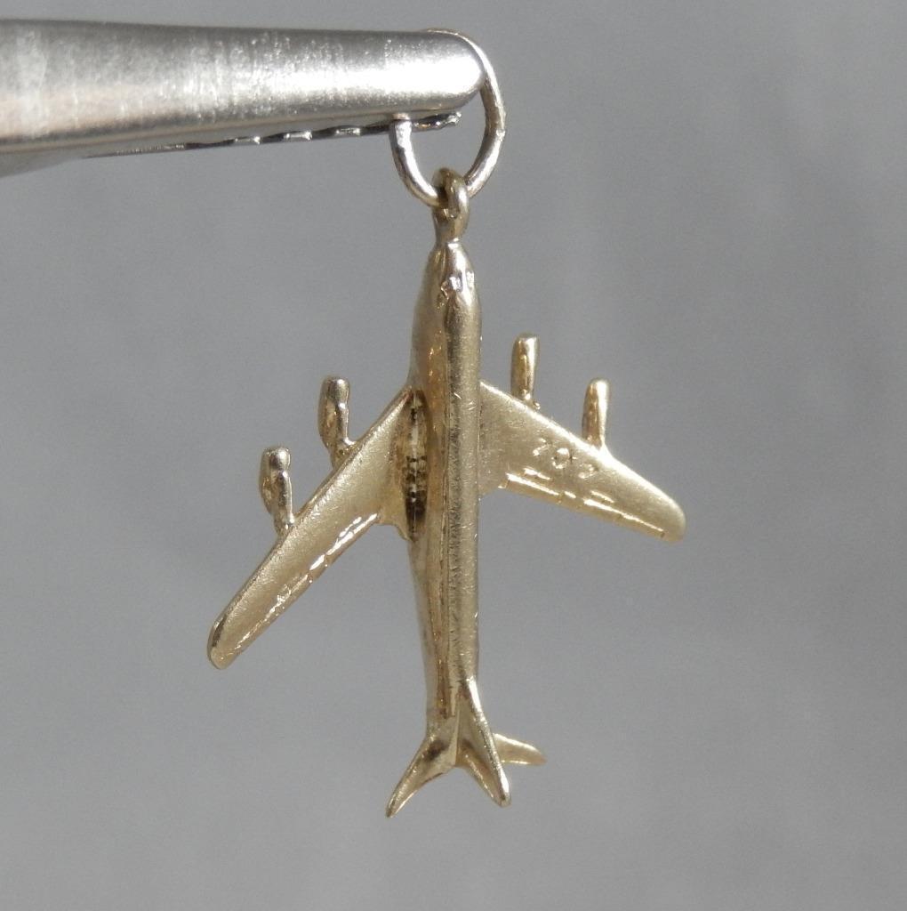 Estate 14 Karat Yellow gold 3D Boeing 707 Airplane Plane Charm Pendant 14K J0684