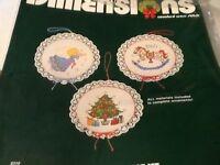 Vintage 1983 Dimensions Cntd Cross Stitch Kit Old Fashioned Ornament Set Craft Supplies