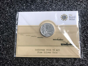 2014 Outbreak WWI 1914 100 Years Twenty Pound Coin £20 Fine Silver Coin Mint UK