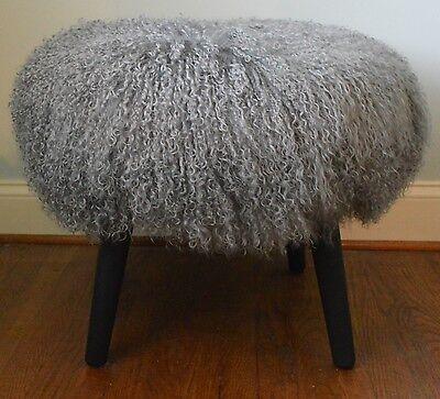 Mongolian Lamb Stool Mid Century wood legs  USA made Grey Tibet  Fur Sheepskin