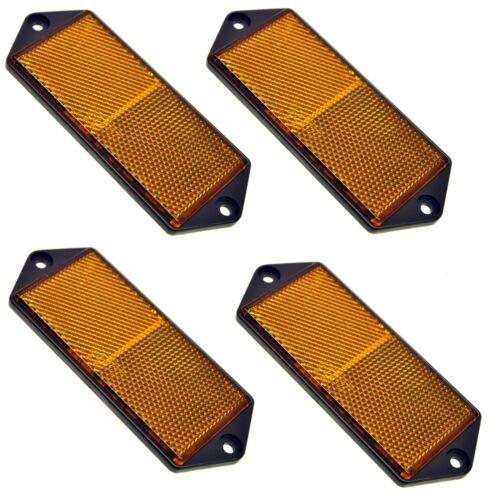 Gate Post TR0 Amber Large Rectangular Side Reflector Pack of 4 Trailer Fence