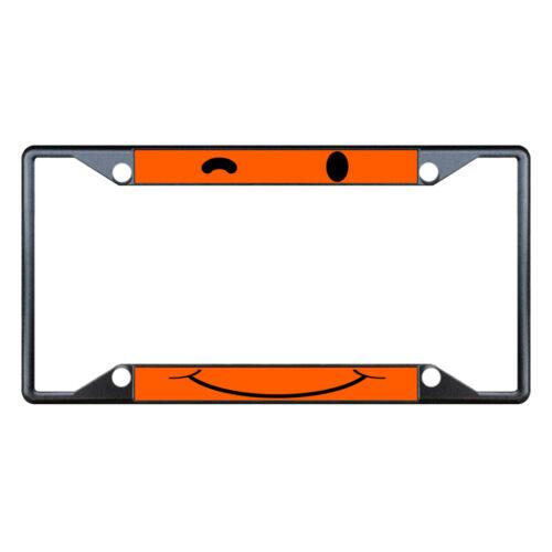 WINKY FACE ORANGE Metal License Plate Frame Tag Holder Four Holes