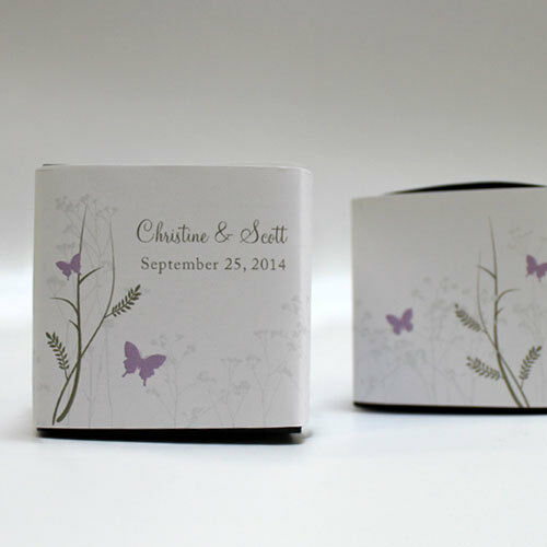 100 Romantic Butterfly Printed Wrap Boxes Wedding Favors