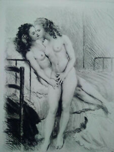 Rare-curiosa-paul-emile-becat-two-states-two-engravings-prints-perfect-condition