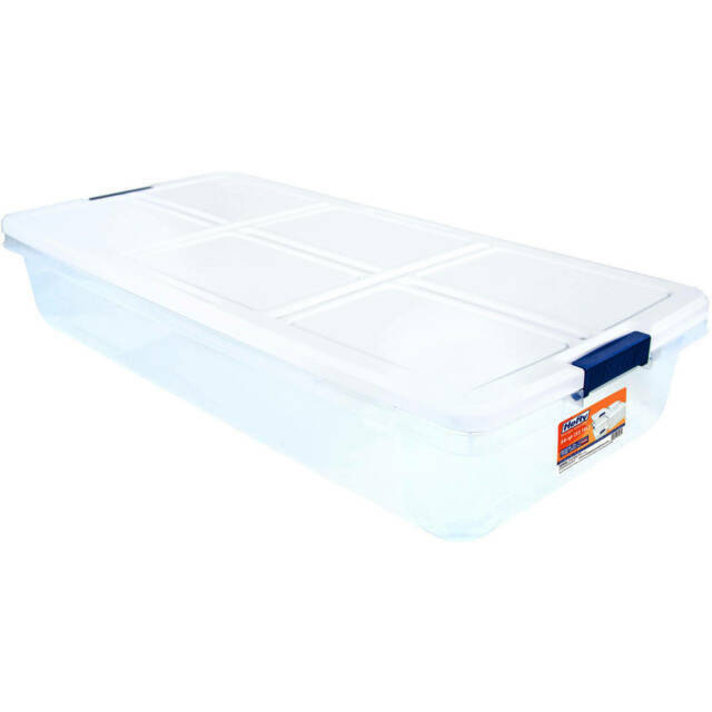 Large 52 Quart Latch Storage Box White Lid Plastic Under Bed Container Bins Tote