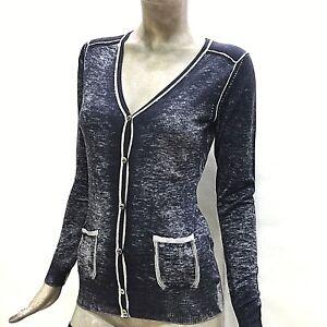 Dettagli su Versace Collection Cardigan Donna Maglione Aperto Bottoni Nero Pullover G32259