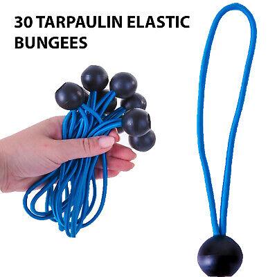 Pack of 10 Tarpaulin Ball Bungees Shock Elastic Bungee Tie Loop Cord
