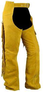 DéLicieux German Wear, Chaps Fransenhose Cavalier Cow-boy Indiens Western Lederchaps Ocre-afficher Le Titre D'origine Remises Vente