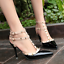 Womens-Patent-Rivets-Heels-T-Straps-Sandals-Pointed-Toe-Shoes-Stilettos-Zsell thumbnail 11