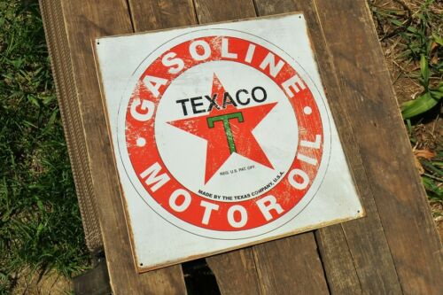 Texaco 1926 Logo Tin Metal Sign Gas Pump Texas Company Gasoline /& Motor Oil