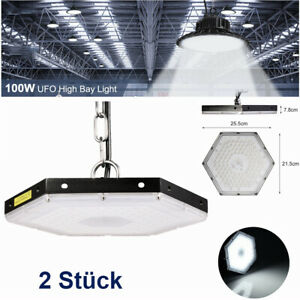 2X-100W-UFO-LED-Hallenleuchte-IP65-Industrielampe-High-Bay-Lagerhalle-Lampe-DHL