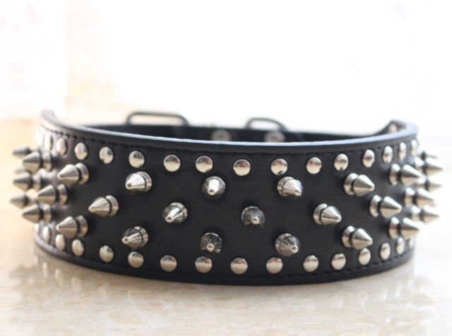 New Rivets Spiked Studded Leather Dog Collar Large Pet Collars 11 Colors 4 Sizes