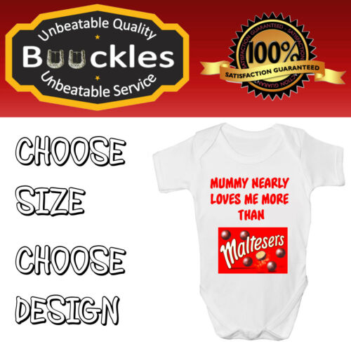 Personalised Babygrow Babyvest Shower Gift Mummy Nearly Loves Me Funny FREE P/&P