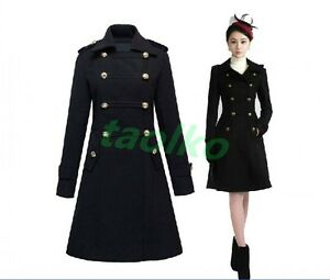 Stylish-Women-039-s-Military-Trench-Coat-Double-Breasted-Wool-Blend-Outwear-Jackets