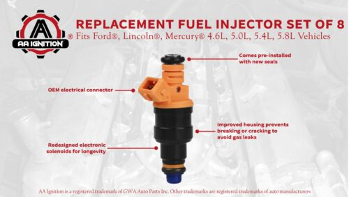 Fuel Injector Set of 8 Replaces part# 280150943 Fits Ford Lincoln /& Mercury