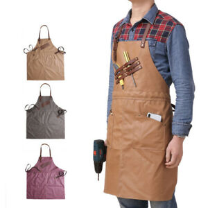 CestMall Canvas Work Apron Heavy Duty Water Resistant Tools Aprons with Pockets