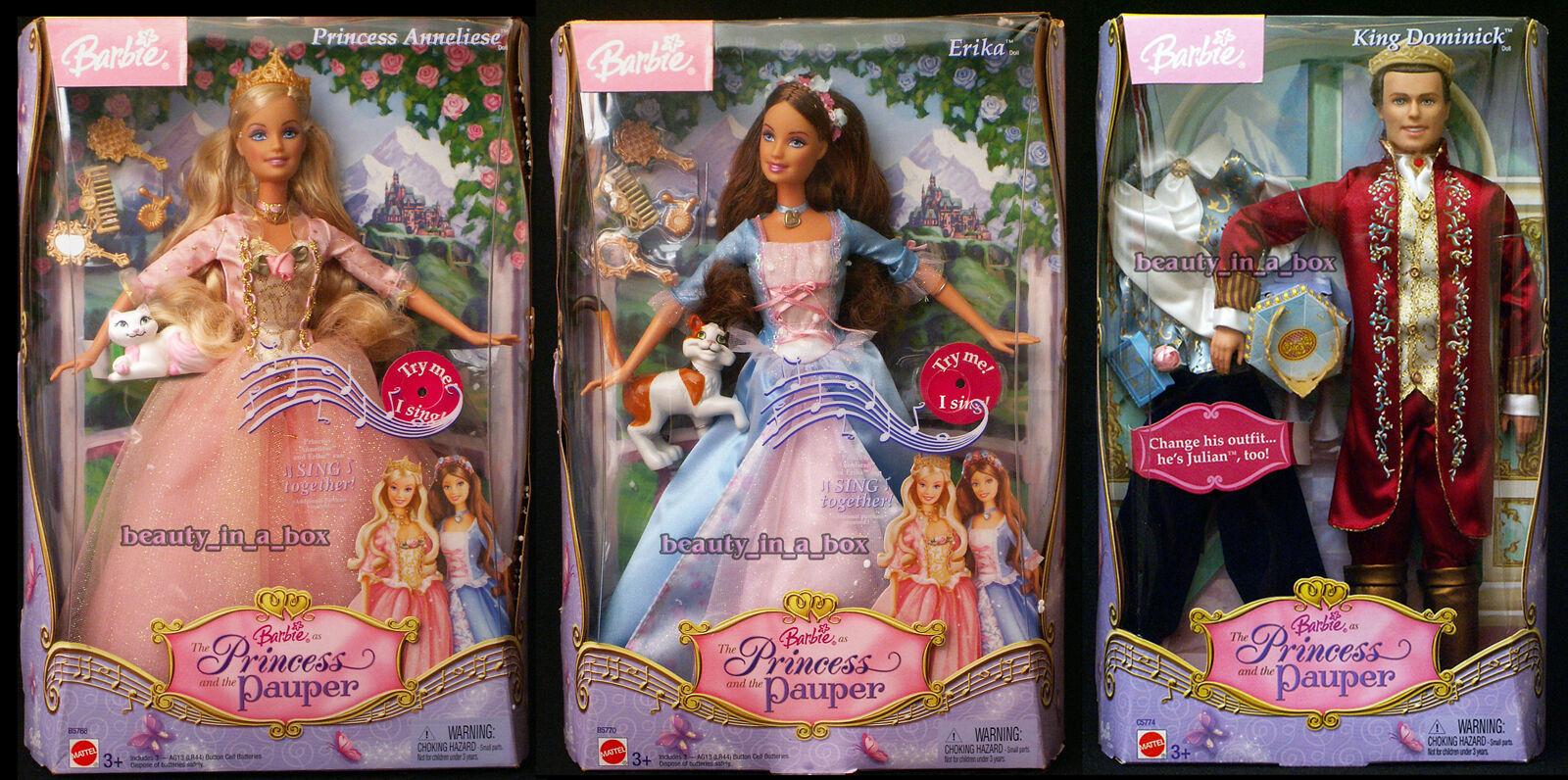 Muñeca Barbie Kritsaralam Erika rey Dominick princesa y el Pauper Ken Lote 3 en muy buena condición