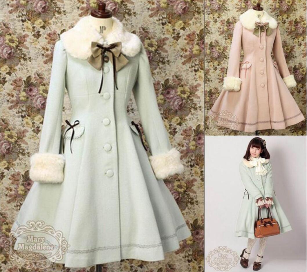 New Woolen Coat Kawaii Vintage Winter Merry Christmas Lolita Costume Ladies Coat
