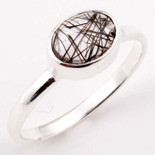 EDH BLACK RUTILATED QUARTZ Gem 925 Sterling Silver Fine Ring Choose Size C-2987