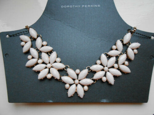 Dorothy Perkins Flower White Stone Party Evening Choker Costume Necklace (New)