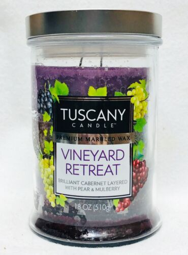 1 Tuscany Candle VINEYARD RETREAT Premium Marbled Wax 2-Wick Tumbler Large 18 oz