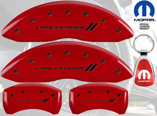 MGP Caliper Brake Cover For Dodge 2009-2010 Challenger Black Fill on Red Paint