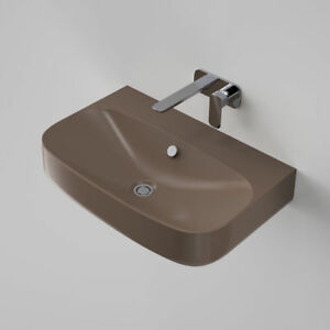 Caroma Moon 700 Wall Hung Basin Tobacco Italy 0 Tap Hole with Overflow EU550805T