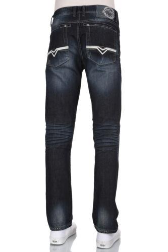 Men Eagle blue jeans Slim straight fit Dark blue sandblast Denim Low rise 29-38