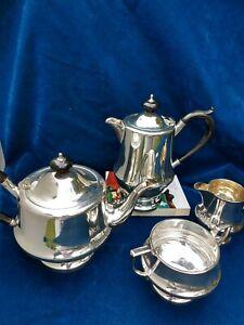 Very Good Quality Stylish Art Deco English Silver Plate Tea Set 4 pce