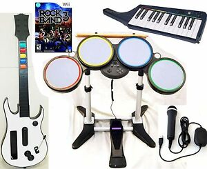 Details about NEW Nintendo Wii-U/Wii ROCK BAND 3 Game Set w/Wireless Guitar  KEYBOARD Drums kit