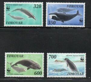 Faroe Islands Sc 208-11 1990 Whales WWF stamp set mint NH