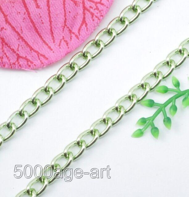 6M 10M 50M Curb Aluminum Open Link Chain fit Necklace Bracelet U choose 8 Colors