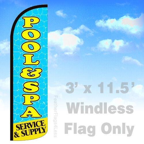 bq POOL /& SPA SERVICE /& SUPPLY WINDLESS Swooper Feather Flag Sign 3x11.5