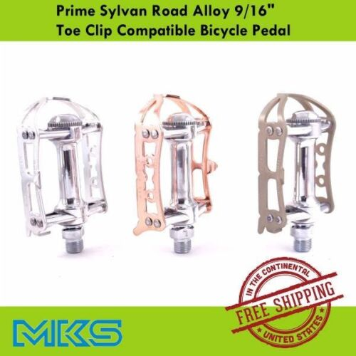"MKS Prime Sylvan Road Bike Alloy Pedal 9//16/"" Toe Clip Compatible Bicycle Pedal"