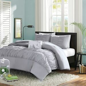Gray-Ruched-amp-Ruffled-Girls-CAL-King-Comforter-Set-4-Piece-Bed-In-A-Bag