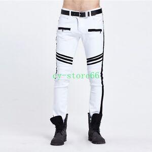 Men s Punk Skinny Casual Biker Trousers Zipper Jeans Slim Fit Strip ... c59e22126