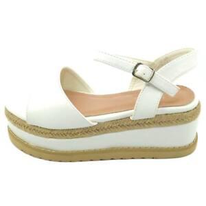 Zeppa sandalo moda mare donna in pelle bianca con fascetta e cinturino alla cavi
