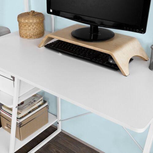 SoBuy® Schreibtisch,Computertisch,Arbeitstisch mit 3 Ablageflächen,Weiß,FWT29-W