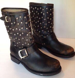 fd84b05455b6 Frye Jenna Cut Stud Women s 5.5 B Distressed Black Leather ...