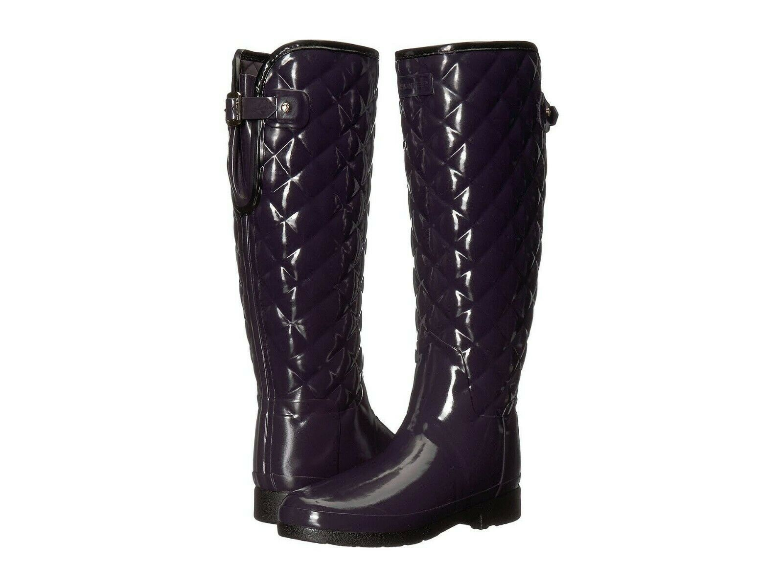 HUNTER REFINED QUILTED GLOSS TALL ALL SEASON BOOTS AUBERGINE SZ 8 NIB