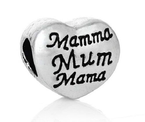 MAMMA LOVE HEART CHARM BEAD FOR BRACELET OR NECKLACE SILVER MUM