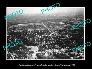 OLD-HISTORIC-PHOTO-OF-EAST-LANSDOWNE-PENNSYLVANIA-AERIAL-VIEW-OF-THE-TOWN-c1940