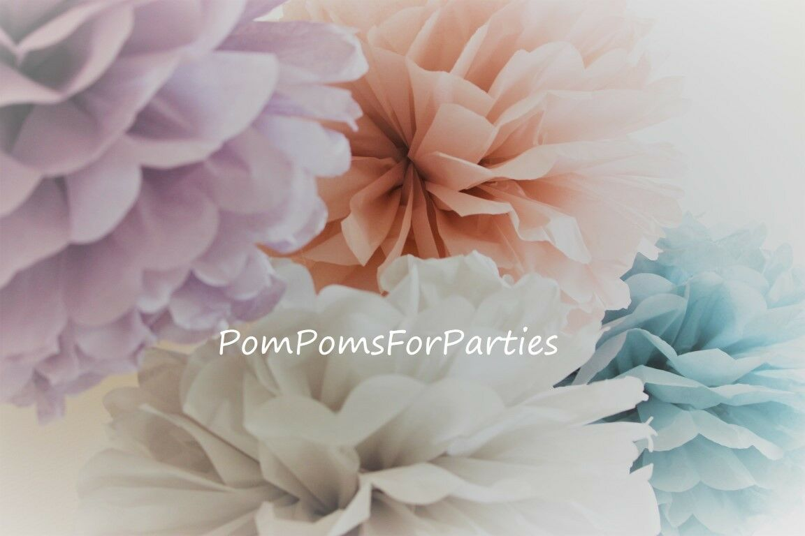 50 units mixed Größe Tissue Paper Pom Poms Wedding Party Baby shower Birthday