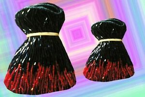 "ORANGE /& SILVER GLASS BEADED BELLY DANCE FRINGE 40/"" x 8/"" /& 40/"" x 4/"""