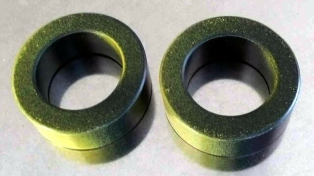 FT140-43 ferrite toroids, pack of 2. Painted yellow to denote type 43.