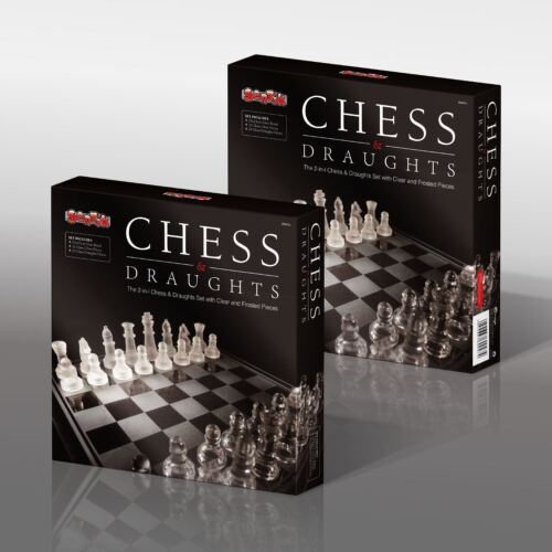 New 2 In 1 Chess Board Glass Frosted Traditional Draughts Set Game Fun