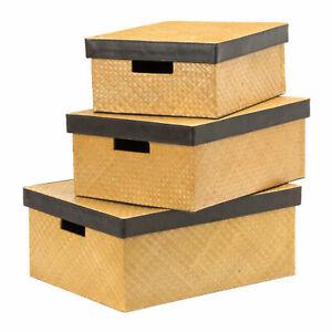Interiors By Premier Pandanus Natural Storage Boxes Set Of 3 - RRP £83.49